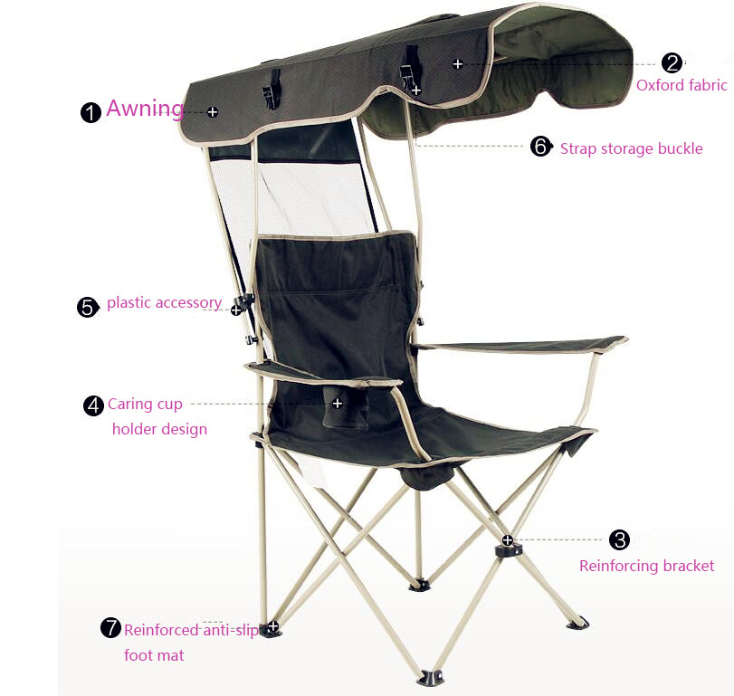 Купить с кэшбэком 2018 new outdoor creative portable folding chair Detachable awning Thicker steel pipe Double Oxford cloth fishing beach chair