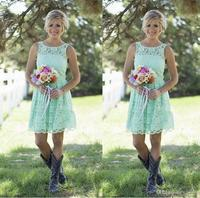 Short Mint Green Bridesmaid Dresses Lace Maid of Honor Dresses Vestido De Wedding Party Gowns Simple Prom Gowns