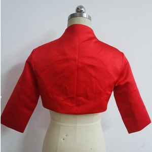 Image 2 - ruthshen 2018 Women Jacket 3/4 Sleeves Red Satin Bridal Accessories Custom Made Wedding Jackets / Coat / Bolero