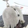 Tassel Diamond Women Evening Bag purse brand circular evening bags fashion gold clutch bag bolsa feminina Silver Gold