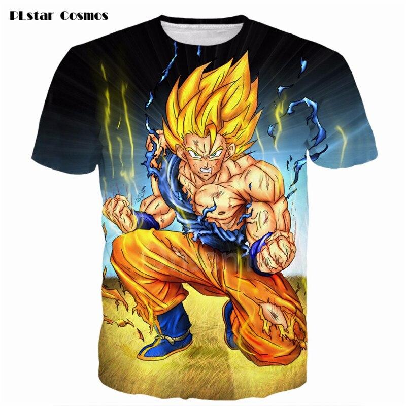 PLstar Cosmos Men Women Dragon Ball Z Super Saiyan 3D t shirt tees Anime Angry Goku Prints tshirts Harajuku Cartoon Tee t shirts