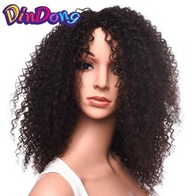 DinDong Kinky Curly Medium Black Syntetisk Curly Wig för Women Hair Product Kinky Curly Afro Wig 18 tum 2 färger finns
