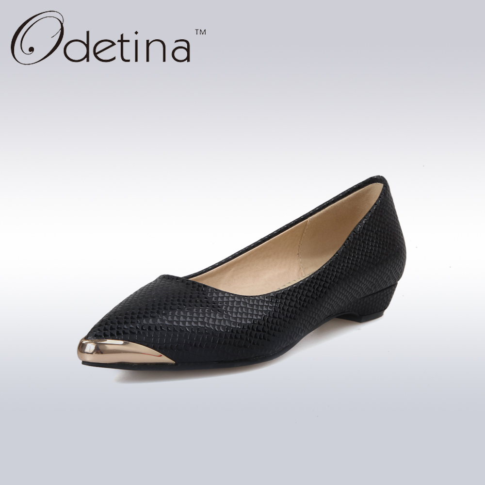 Odetina 2017 New Women Pointed Metal Toe Loafers Women Ballerina Flats Black Ladies Slip on Flats Plus Size Spring Casual Shoes nis ladies ballerina flats pointed toe moccasins casual flat shoes slip on for women black gray pink sky blue zapatos mujer