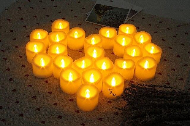 24 pcs מופעלת סוללה LED נרות tealight Flameless הבהוב גלי תה אור W/טיימר 6 שעות על 18 שעות Off F/חתונת חג מולד הבית