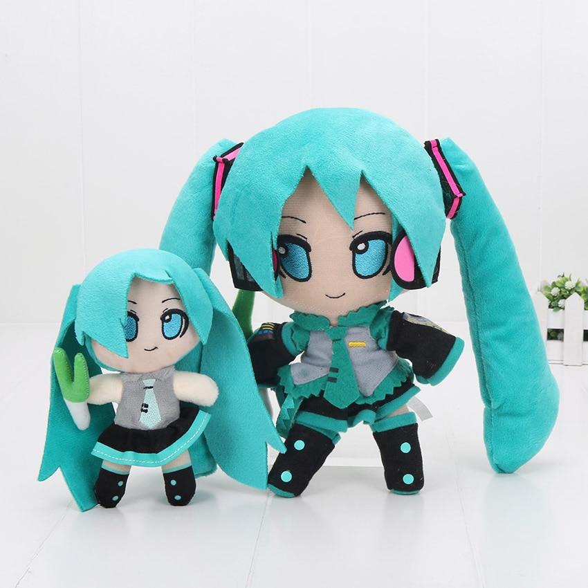 24cm VOCALOID Hatsune Miku Smiling Anime Plush Toy Doll Free Shipping hatsune miku winter plush doll