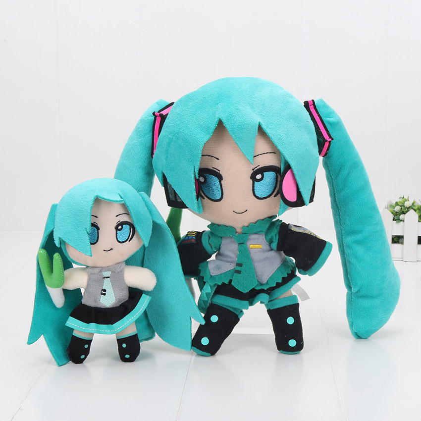 16cm / 24cm VOCALOID Hatsune Miku Smiling Anime Plush Toy Doll plush pendant mllse anime hatsune miku vocaloid smart sun glasses bluetooth 4 1 stereo music wearable devices sport headset for phone mp3 mp4