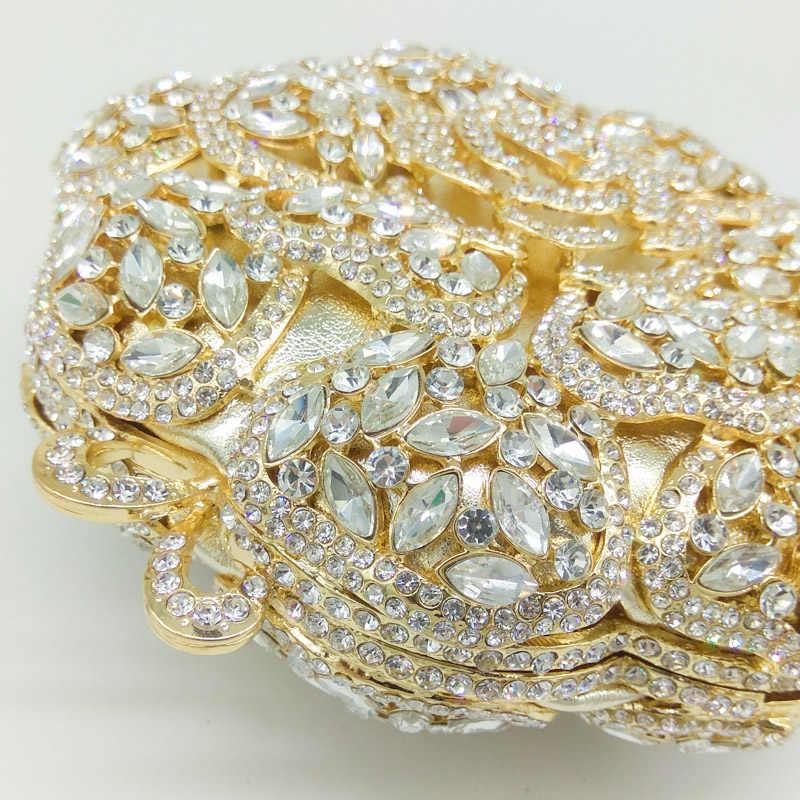 Бутик De FGG круглые металлические клатчи Minaudiere вечерние сумки женские золото хрусталь алмаз Свадебная вечерняя сумочка кошелек