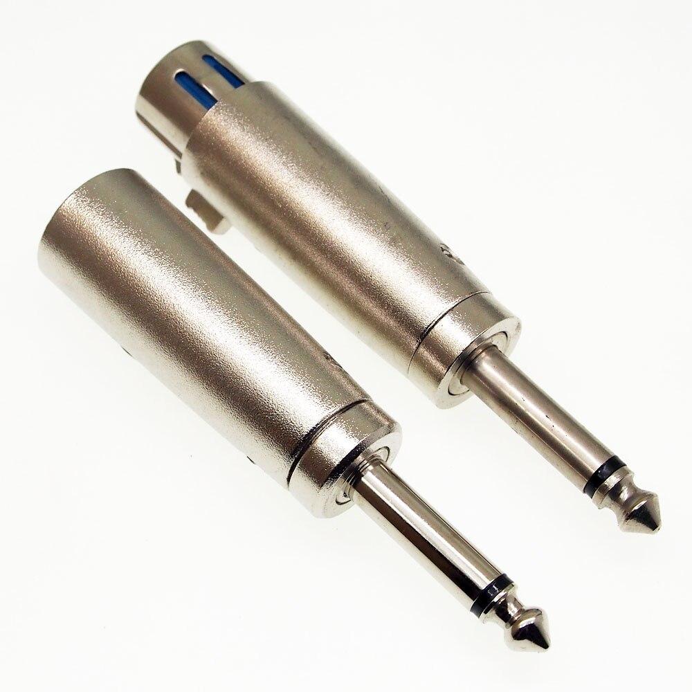 5pcs Three-core XLR Canon Female Connector To 6.5mm Mono Male Plug Canon Audio Converter Canon Male To 6.35mm Male