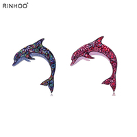 Acrylic Printing Brooch Dolphin Animal Brooches Cute Brooch Animal Jewelry For Women Best Gift