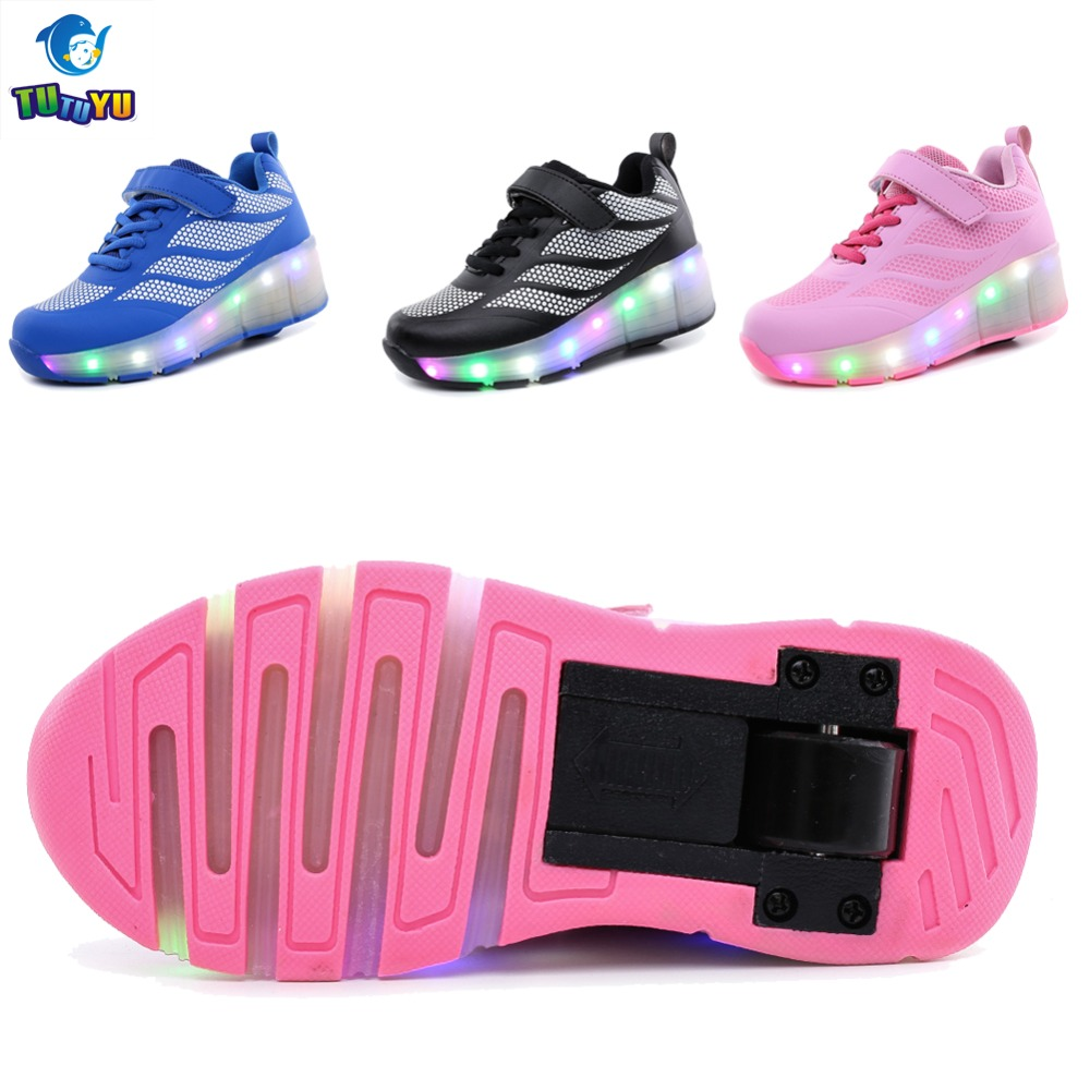 Roller tennis shoes - Tutuyu Wheels Shoes Child Sneakers With Wheels Glowing Sneakers Girls Boys Led Light Roller Skate Shoes