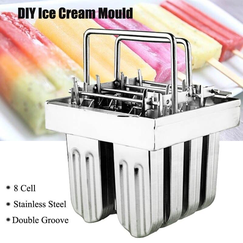 8 Cells Stainless Steel Ice Cream Maker Ice Pops Molds Lolly Popsicle Stick Bars Holder Industrial Home DIY Ice Cream Maker
