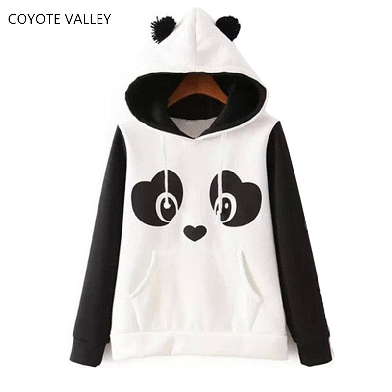 COYOTE VALLEY women fleece The new2017 high quality hippie lovely nifty panda printing fleece fleece ms black and white colours