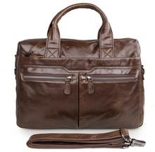 100% Genuine Cow Leather Mens Briefcase Laptop Messenger Bag Men Free Shipping # 7122C