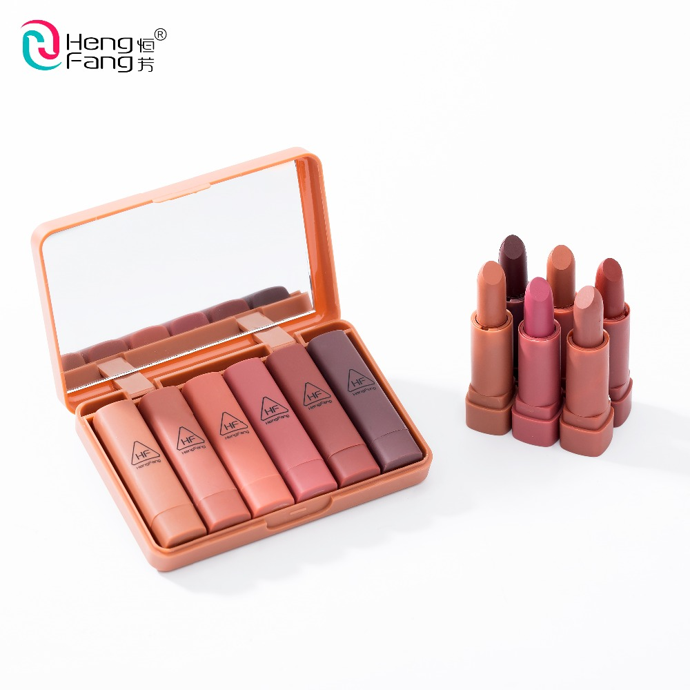 Maquiage 6pcs/set nude matte lipstick waterproof long lasting batom lip kit makeup set Pigment Velvet hengfang brand Cosmetic