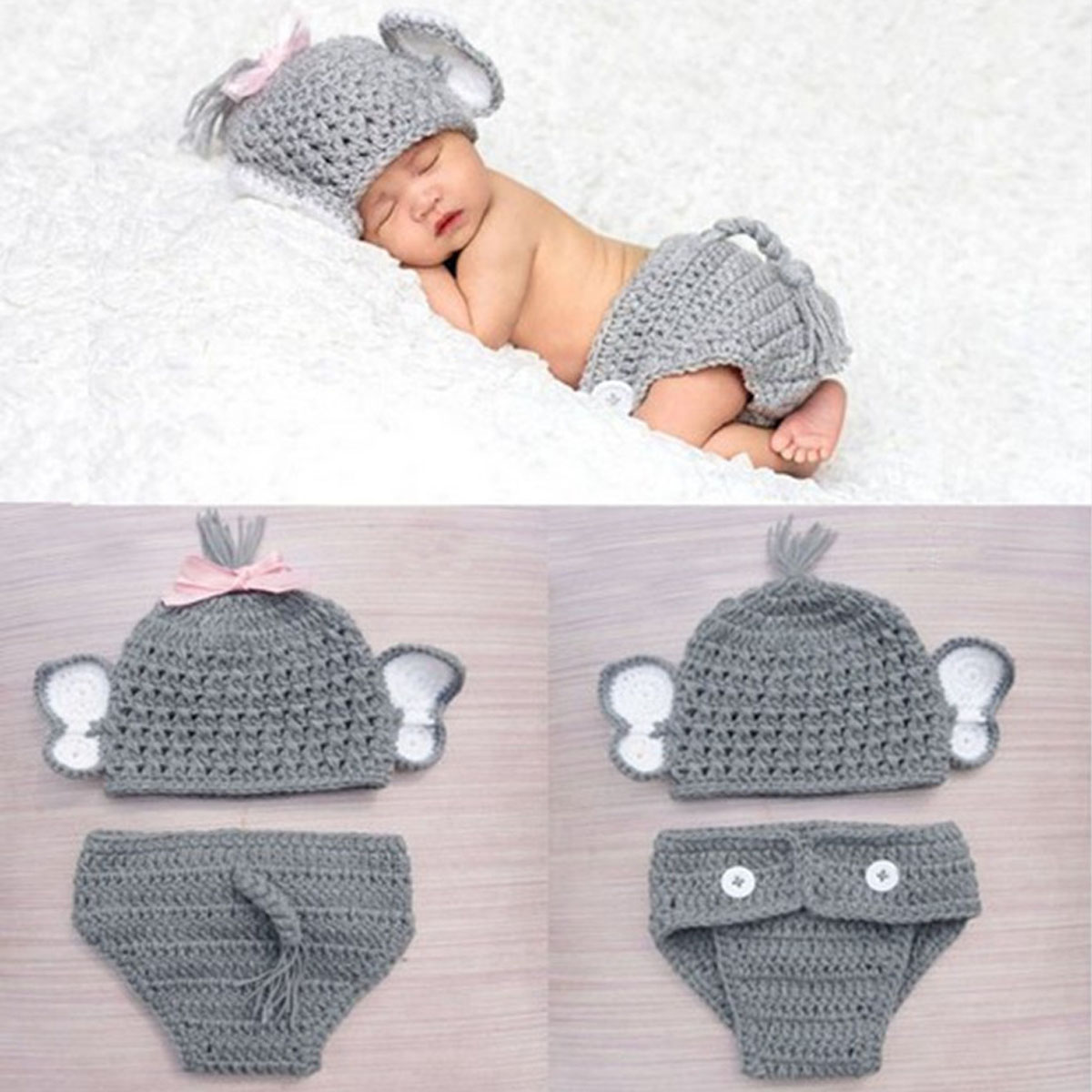 Newborn Baby Girls Boys Elephant Costume Baby Boy Girl Animal Knit Crochet Elephant Hat Briefs Clothes Set Photo Prop Outfits newborn baby cute crochet knit costume prop outfits photo photography baby hat photo props new born baby girls cute outfits