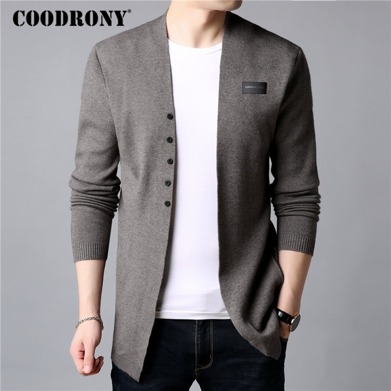 COODRONY Wool Sweater Coat Cardigans Knitted Autumn Men Winter Casual Cotton New And