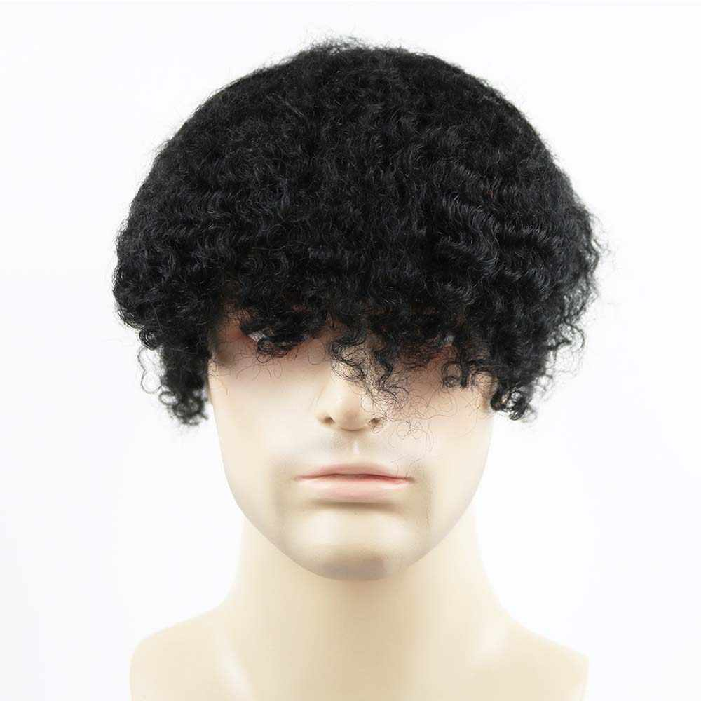Bleached Knots Swiss Lace Base Afro Mens Toupee Hairpiece Indian Human Hair Replacement System African American Wigs
