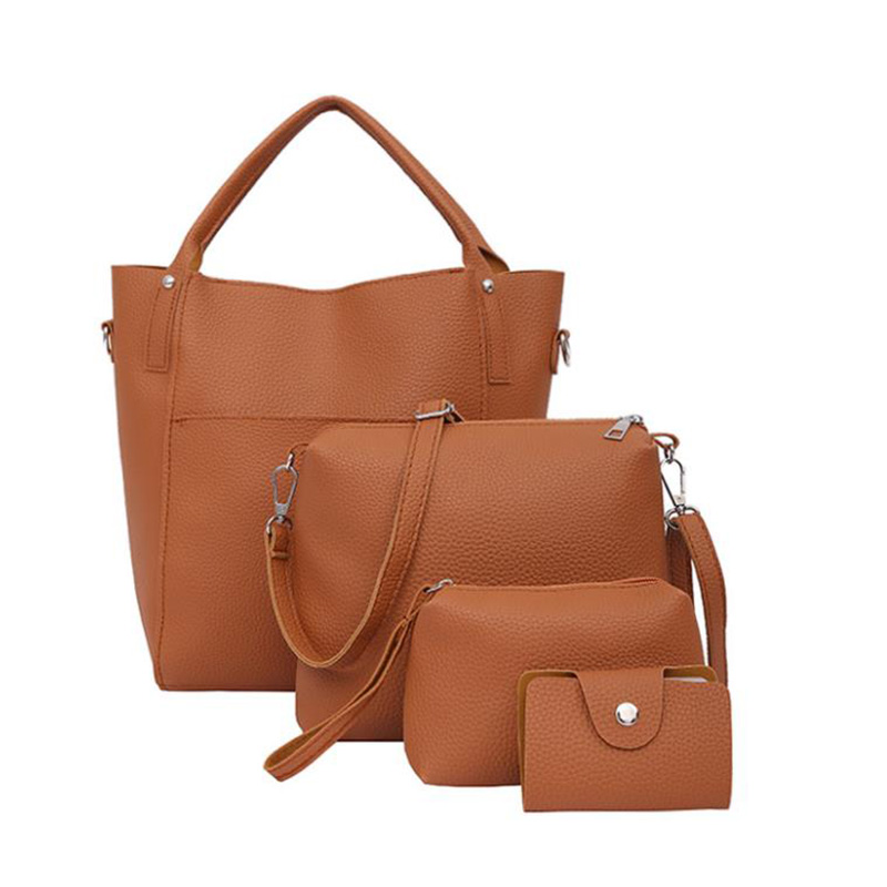 4Pcs/Set Women Simple Leather Bucket Shoulder Crossbody Bags Female Handbag Clutchbag Purse Wallet Messenger Mother\'S Bag
