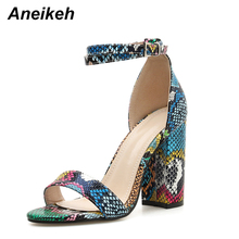 Aneikeh 2019 Novelty PU Sandals Woman Serpentine Square High Heels Shoe