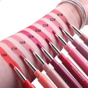 1 Pcs New Matte Lipstick Pencils Lips Batom Sexy Nude Color Cosmetics Pigments Double-end Waterproof Matte Lip Liner Pen