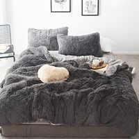 Juego de ropa de cama de terciopelo de visón de Color puro 20 colores lambs lana polar sábana plana edredón sábana ajustada tamaño Queen King 4/6/7 piezas
