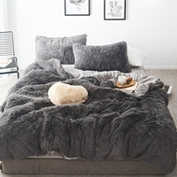 Pure Color Mink Velvet Bedding Sets 20 colors lambs wool Fleece Bed Sheet Duvet Cover bedclothes Fitted sheet Queen size 4/6/7pc