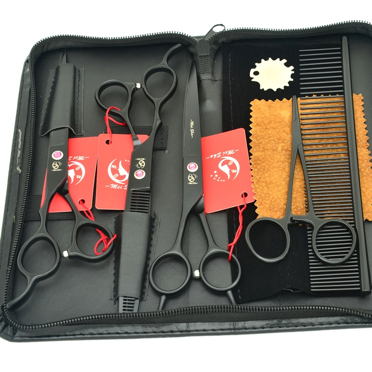 7.0 Meisha Left handed Professional Pet Dog Grooming Scissors Set left hand Dog Hair Cutting Thinning Curved Shears HB0080