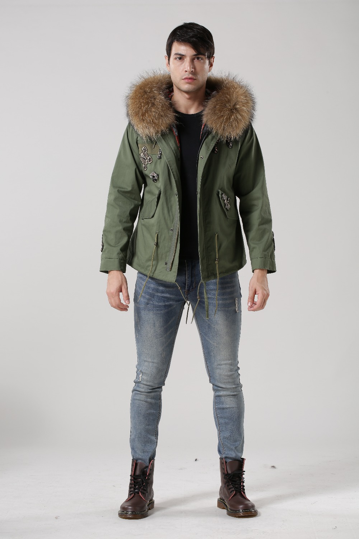 Mens jacket lined with fur - Cotton Lined Mens Fur Lined Coat Huge Raccoon Fur Hoodies Mr Wear In Spring Worker