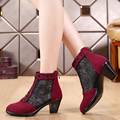 2017 spring and autumn cutout boots genuine leather thick heel net boots 40 - 43 women