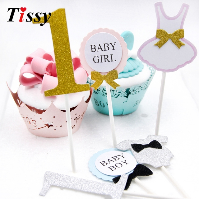 12pcs/lot Happy Birthday Cake Topper For 1 year old Baby first Birthday  Party Cupcake