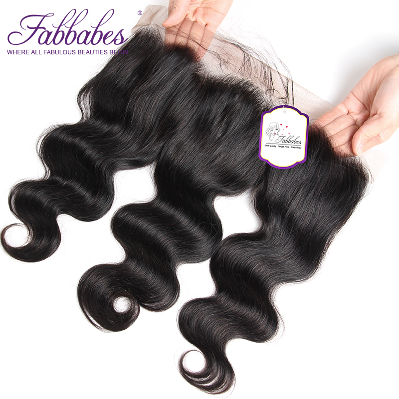 Fabbabes 13x4 Ear Lace Frontal Closure Brazilian Body Wave Pre-plucked with baby hair 100% Human Remy Hair Products Free Ship