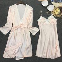 אופנה הלבשת Robe כותנות לילה נשים תחרה פרחונית סאטן גלימות V-צוואר מלא שרוולי מתכוונן נשים Nightwear לנקבה