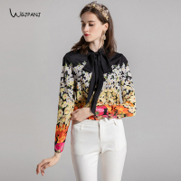 Plus Size XXL XXXL Womens Tops and Blouses 2018 High Quality Bow Colorful Black White Orange Floral Printed Shirt Feminina