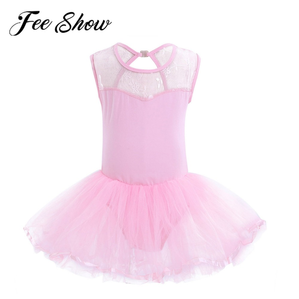 New Kids Girls One-piece Lace Ballet Dance Leotard Tutue Princess Party Dress Sleeveless Cutout Back Dance Costumes Performance