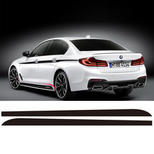 2Pieces Side Skirt Sill Racing Stripe Vinyl Sticker Body Decal For BMW New 5 Series G30