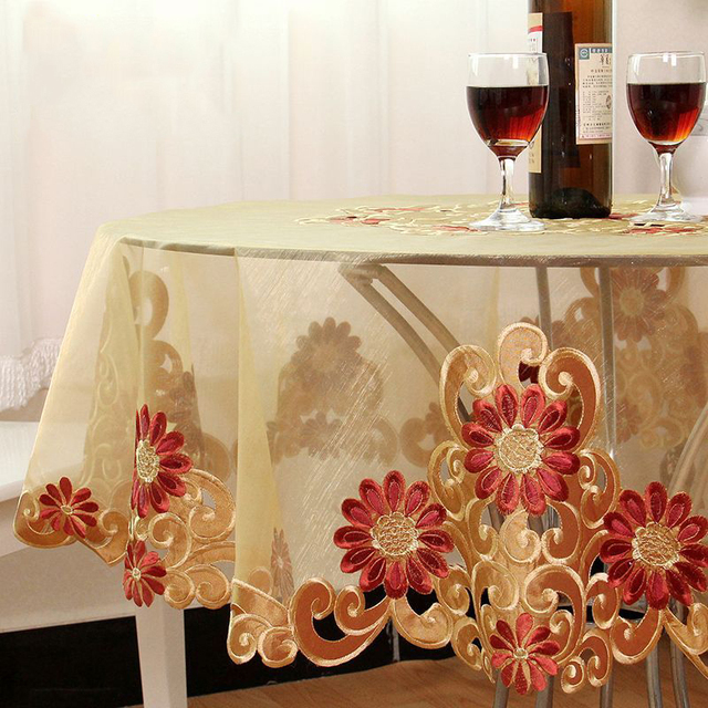 European Style Floral Tablecloths Embroidered Table Cloth Wedding Party  Cake Square Table Cover Vintage 85x85cm