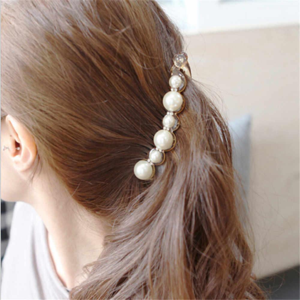 Girl Pearl Hairpins Hair Clips Banana Clip Headwear Hairgrip Ponytail Barrettes