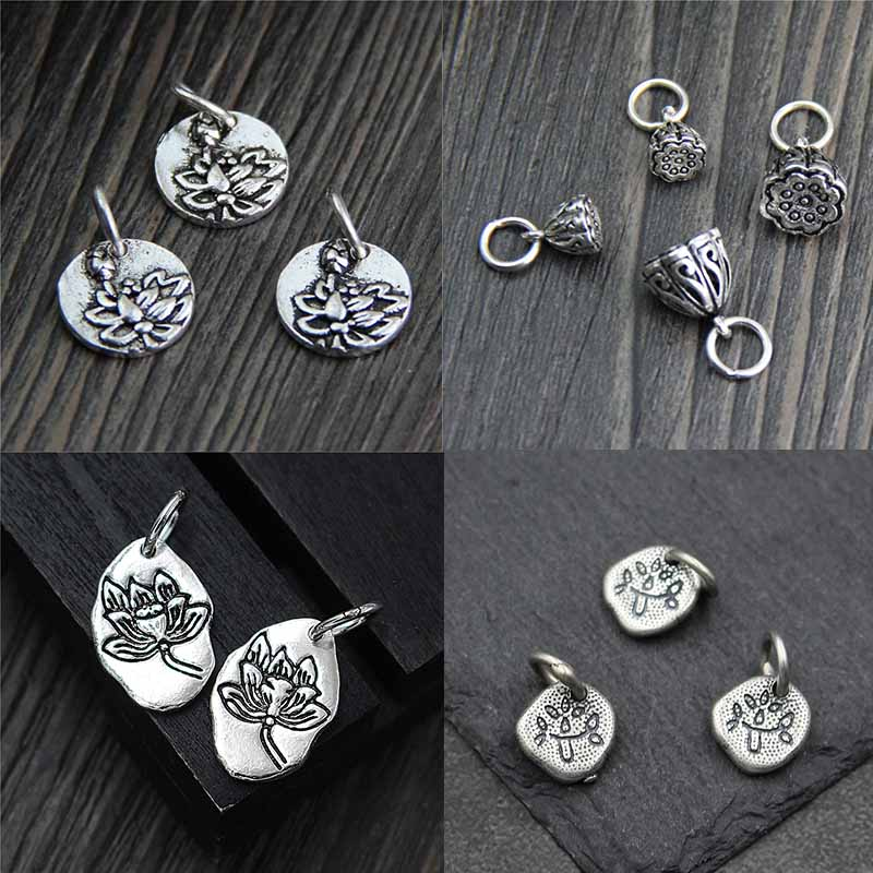 100% 925 Sterling Silver Pretty Pendant Charms Lotus/Leaf/Heart Craft Vintage Bracelets Silver Pendants DIY Fine Jewelry Making