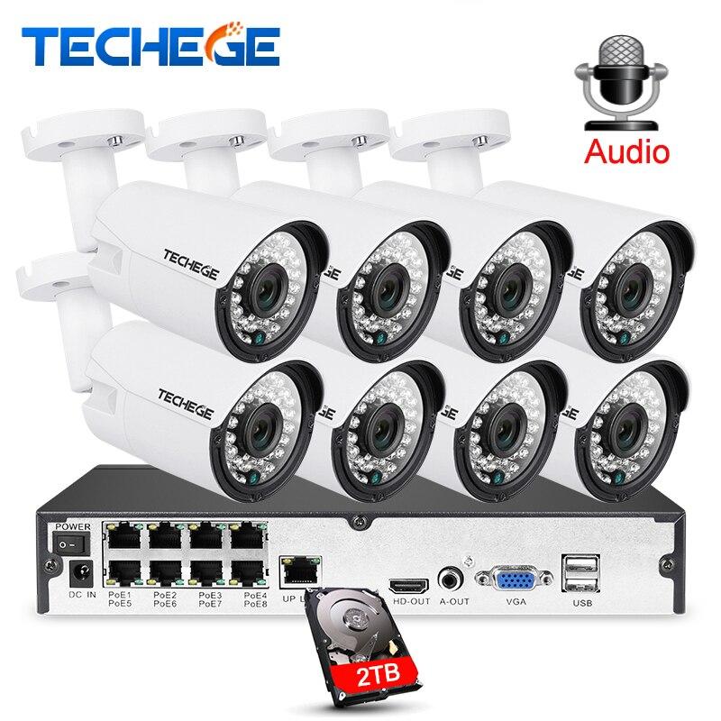 Techege 8CH 1080 P CCTV Sistema de Gravação de Áudio kit PoE IP Camera 3000TVL 2MP Metal Visão Noturna Câmera De Segurança À Prova D' Água sistema