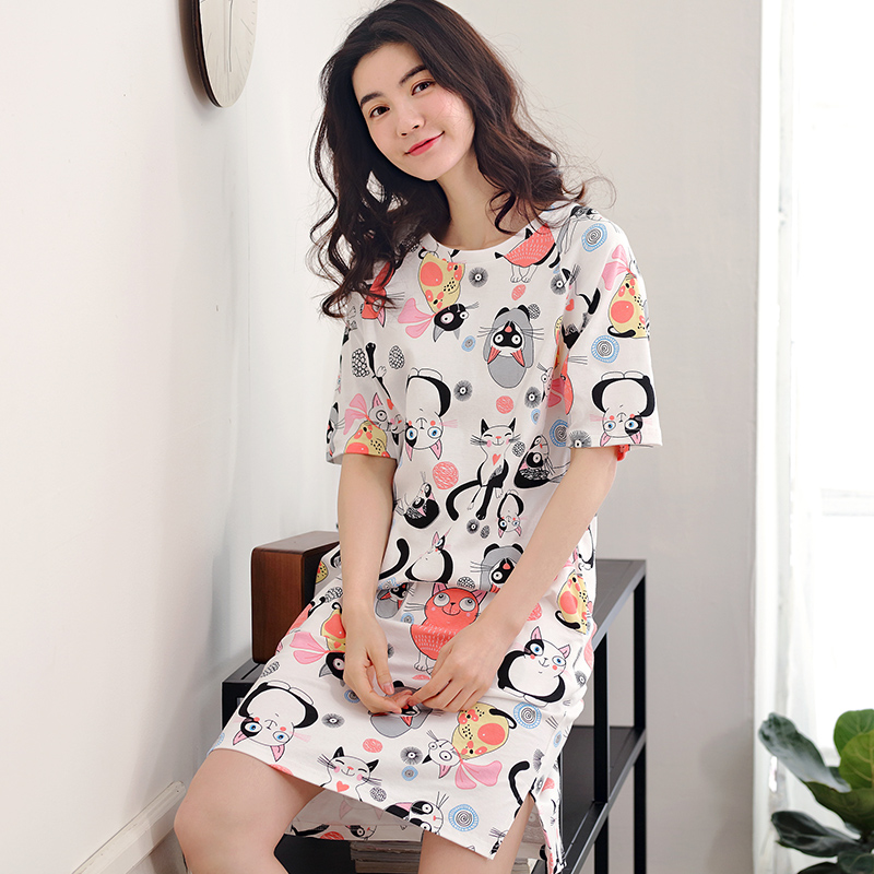 Summer Cotton Women's   Nightgown   Lounge Nightdress Femme Print Sleepwear Casual Nightwear Loose   Nightgowns   Fashion   Sleepshirts