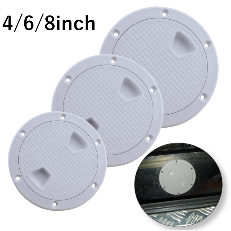 ABS Round Deck Inspection Access Hatch Cover Plastic White Boat Screw Out Deck Inspection Plate For Boat Yacht Marine 4/6/8 Inch