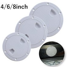 ABS Round Deck Inspection Access Hatch Cover Plastic White Boat Screw Out Plate For Yacht Marine 4/6/8 inch