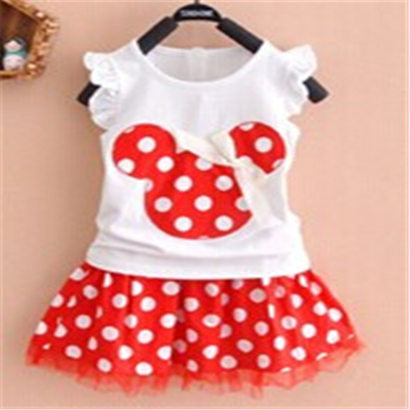 Baby Children Clothes Set New Kids Baby Girls Minnie Party Sleeveless Vest+Skirt Toddler Dots Clothes Baby Girl Set 1-4Year