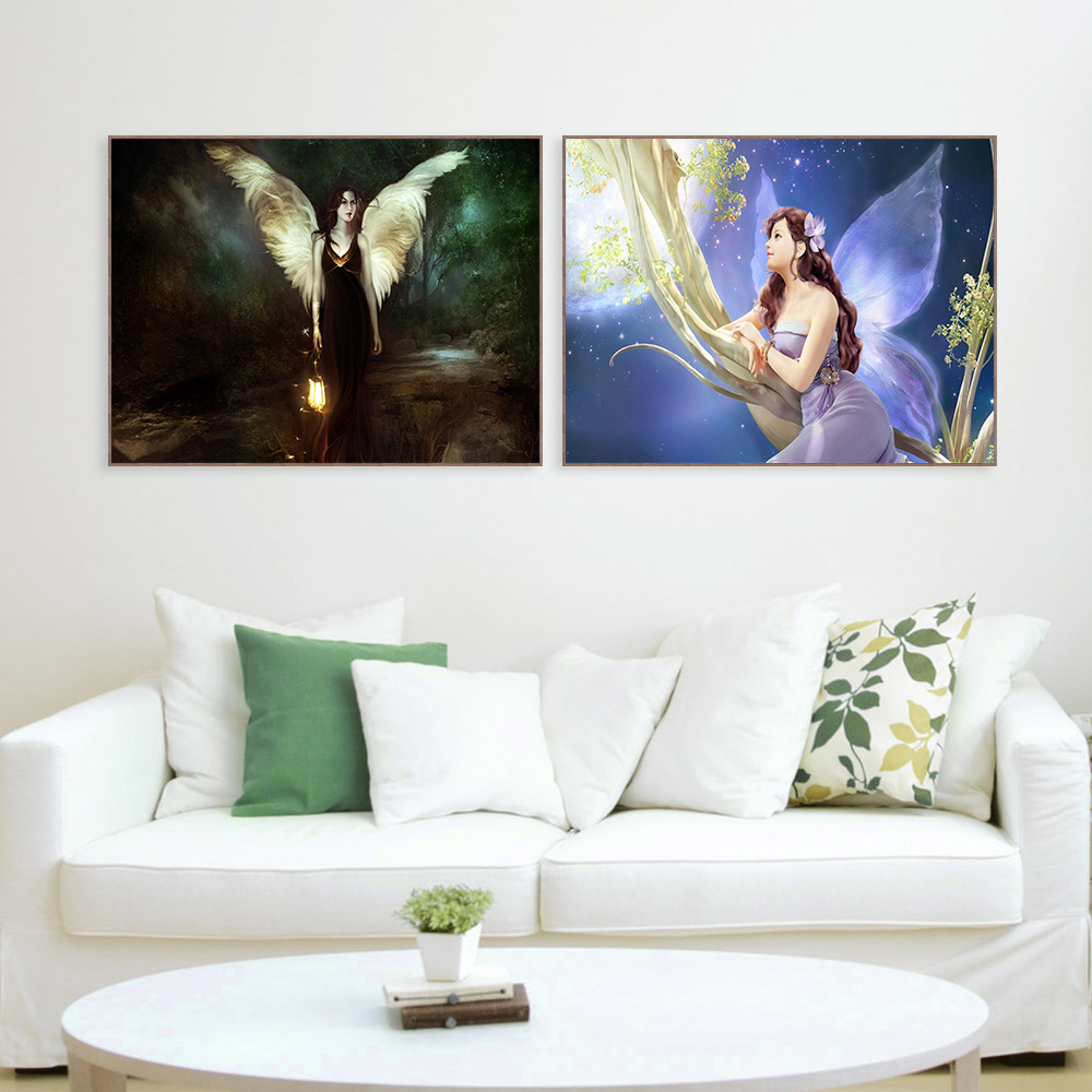 Modern Style fairy girl wings flowers field bird Oil Painting for living room wall Painting Panel Hanging Wall Art Cuadros