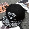 2016 Nuevo Hip Hop Snapback 5 Panel Cap Marca Cool Coreano gorra de Béisbol Sol Golf Viseras Hombres Diamond Sombreros para Hombres Mujeres 56 CM A 59 CM L