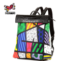 ROMERO BRITTO New 2017 Printing Graffiti Owl Backpack Satin & PU Women Travel Bag For Girls Cartoon Bag Shoulder School Bag