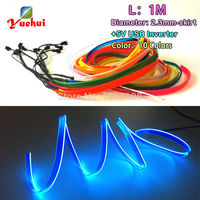 High Quality 2 3mm Skirt 1Meter Blue EL Wire Flexible Neon Tube Led Thread Rope Tube