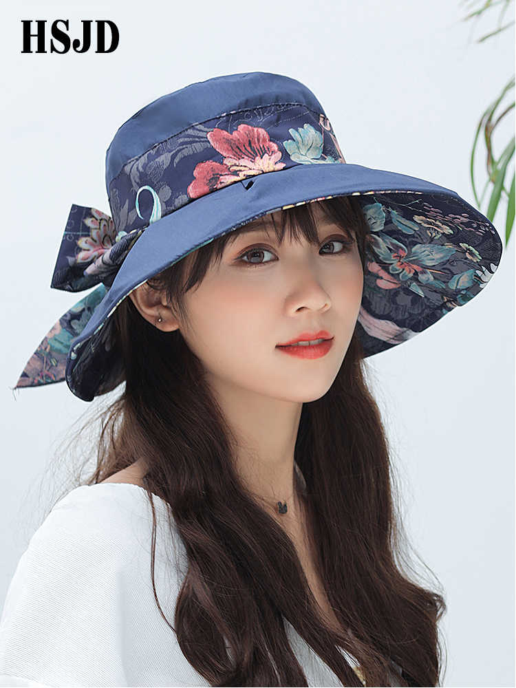 Summer Womens Large Wide Brim Flowers Sun Hat Female Bowknot Visor Caps Foldable Elegance Anti-UV Beach hat Lady's Summer Hat