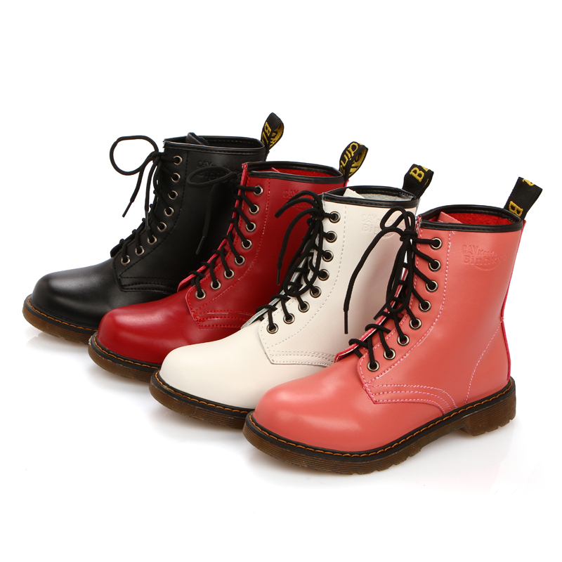 ФОТО Brand New Brand Punk Fashion Black White Red Pink Women Ankle Martin Boots Plain Solid Ladies Winter Shoes Lace up A8311