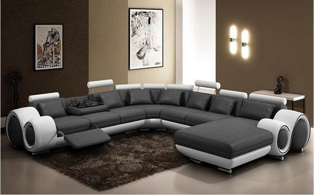 L Shape Cowhide Leather Top Grain Genuine Leather Corner Sofa Modern  Fashion Creative Combination Large Size Sofa